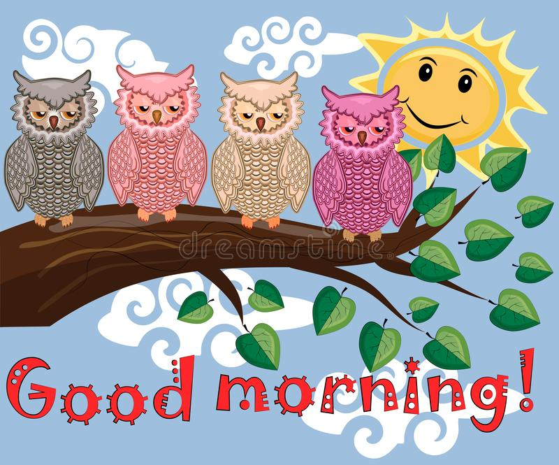 Two bright, cartoon, lovely, colorful owl-girls drink coffee on a flowering branch of a tree. Morning, breakfast. An unhappy, sleepy owl on a tree branch in the stock photo