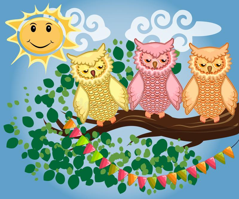Two bright, cartoon, lovely, colorful owl-girls drink coffee on a flowering branch of a tree. Morning, breakfast. An unhappy, sleepy owl on a tree branch in the stock illustration