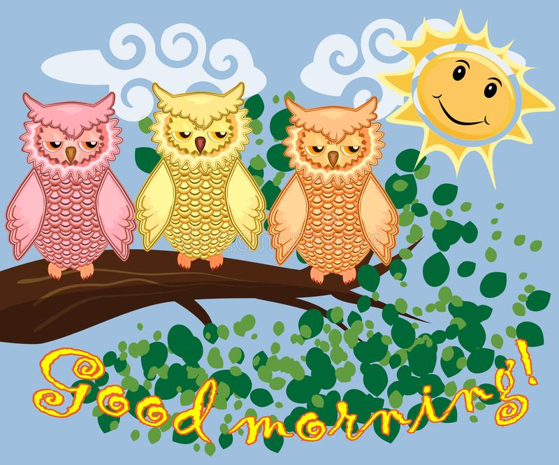 Two bright, cartoon, lovely, colorful owl-girls drink coffee on a flowering branch of a tree. Morning, breakfast. An unhappy, sleepy owl on a tree branch in the royalty free illustration