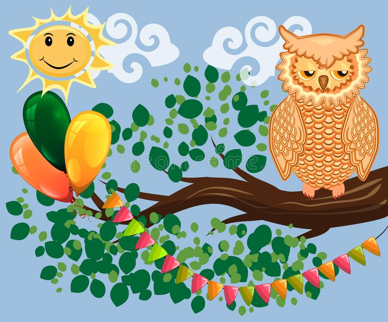 Two bright, cartoon, lovely, colorful owl-girls drink coffee on a flowering branch of a tree. Morning, breakfast. An unhappy, sleepy owl on a tree branch in the vector illustration