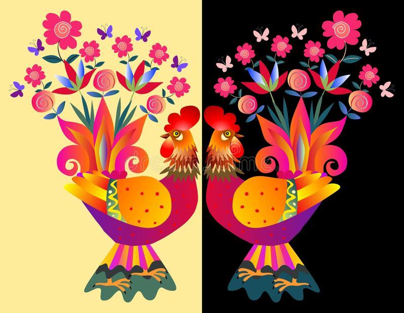 Two bright colorful cockerels - Vases with flowers. stock illustration
