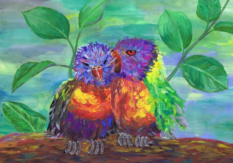 Two bright fluffy birdies sit next. Children`s drawing royalty free stock images