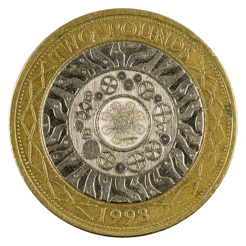 Two british pounds coin 1998 isolated royalty free stock photos