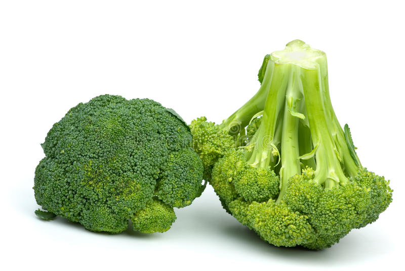 Two broccoli pieces royalty free stock photography