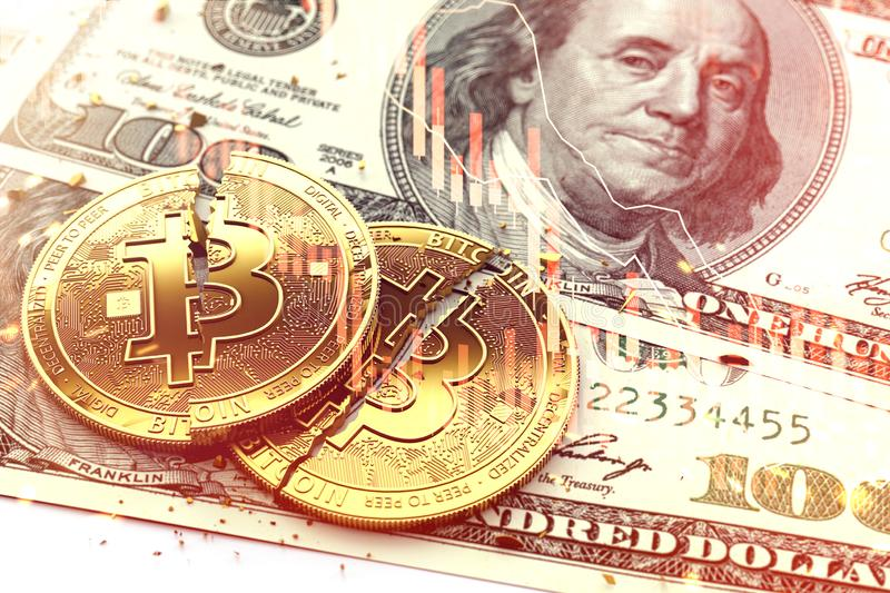 Two broken Bitcoin coins laying on dollar bills. Red candles of stock exchange diagram as a symbol of crash. 3D rendering royalty free stock photography