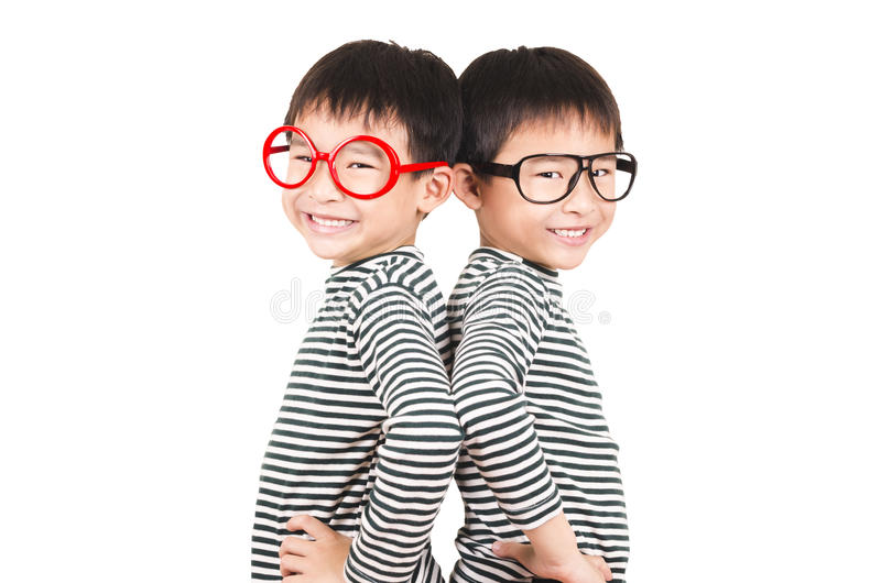 Two brother smiling stock images