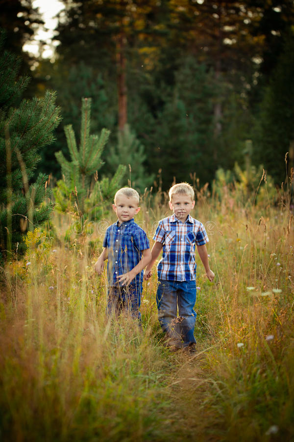 Two brothers hugging each other outdoor stock images