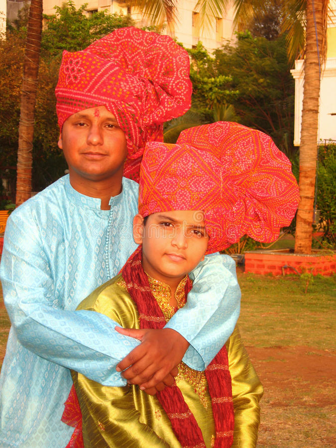 Two brothers from Indian village stock photo