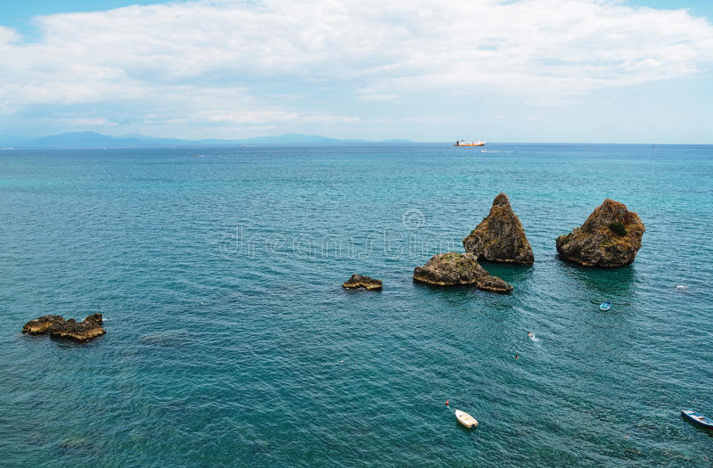 The Two Brothers, large rock formations, Vietri sul Mare, Salerno, Italy. Symbol of Vietri sul Mare are the Two Brothers Due Fratelli, two largeformations stock photos