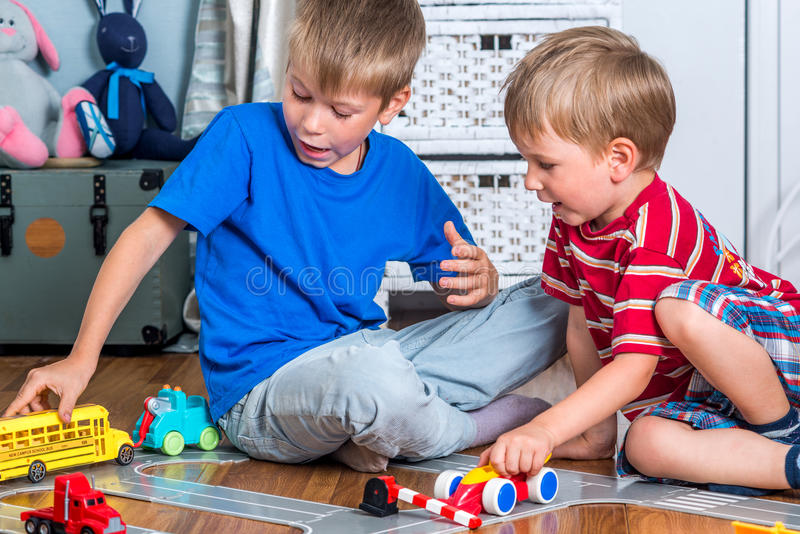 Two brothers plays royalty free stock images