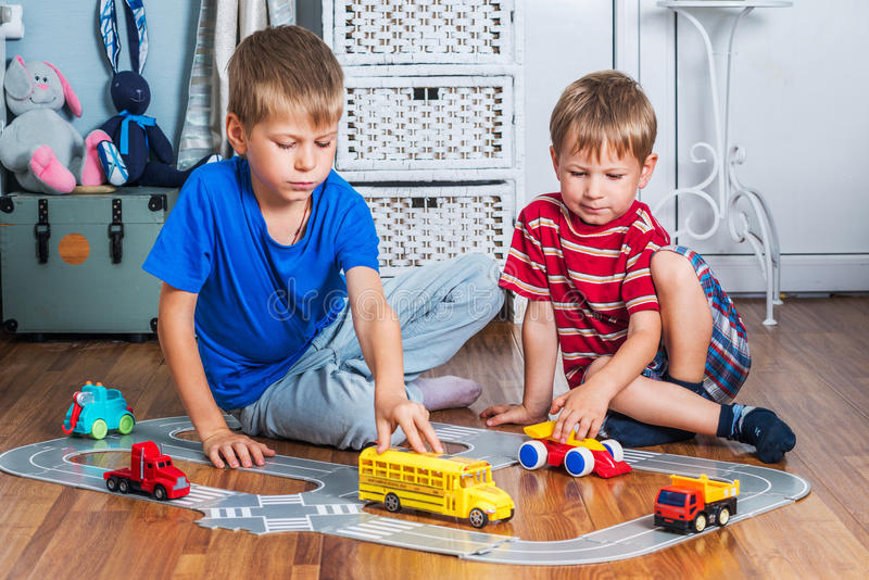 Two brothers plays stock photography