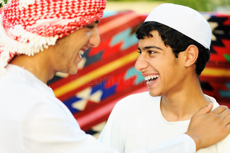 Two brothers, two arabic people stock photography