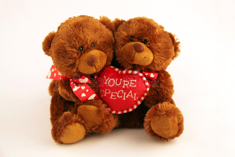 Two brown bears. Two plush brown bears holding a heart with the words you're special stock photo