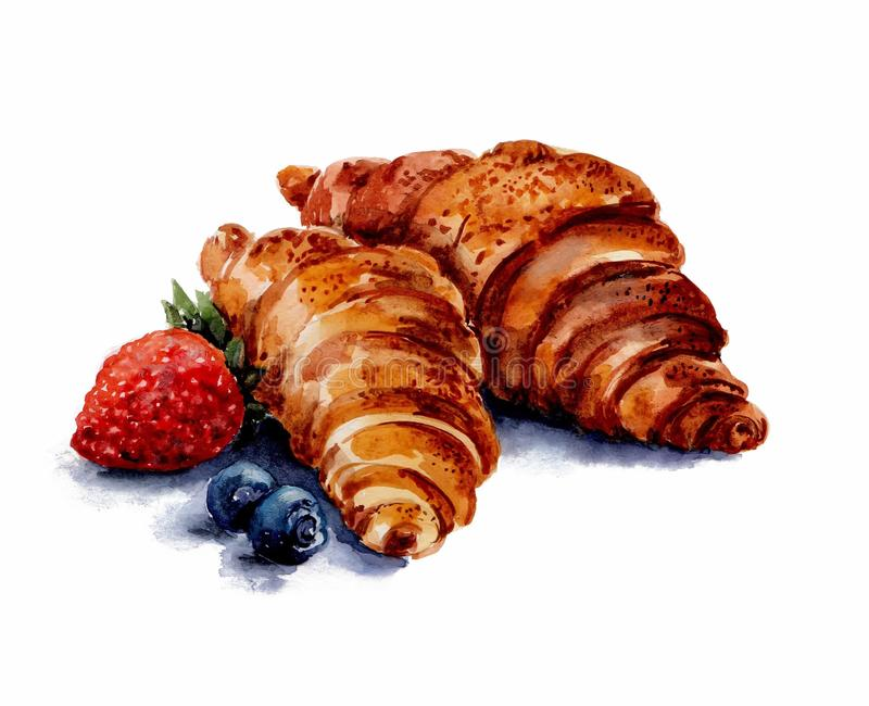 Two brown croissants are located in the center of the picture. To the left of them lie one berry of red strawberry and Watercolor. royalty free illustration
