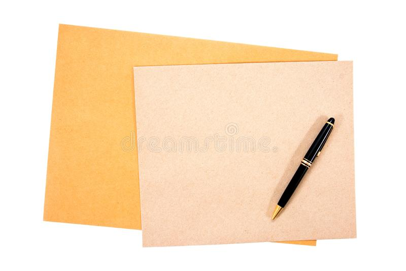 It is two brown document envelope with pen isolated on white background royalty free stock images