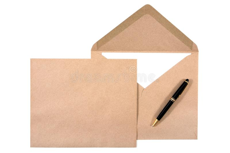 It is two brown document envelope with white paper and pen isolated stock photos