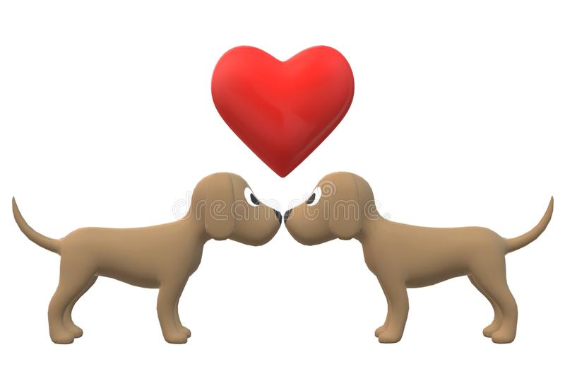 Two brown dogs sniffing at each other stock images