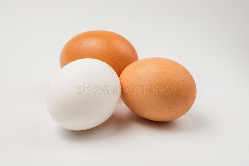 Two brown and single white chicken eggs. stock photo
