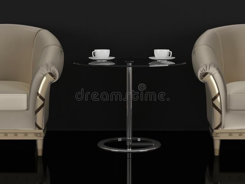 Two brown sofas and coffee table vector illustration