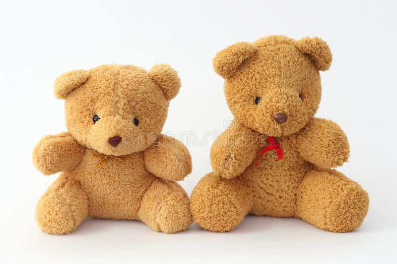 Two brown teddy bear on a white background. Two brown teddy bear on a white background Look cute stock photography