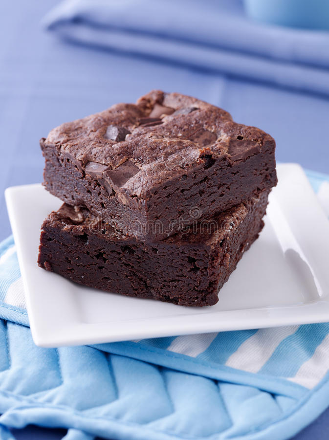 Free Two Brownies Stacked On A Plate. Stock Photo - 20489470