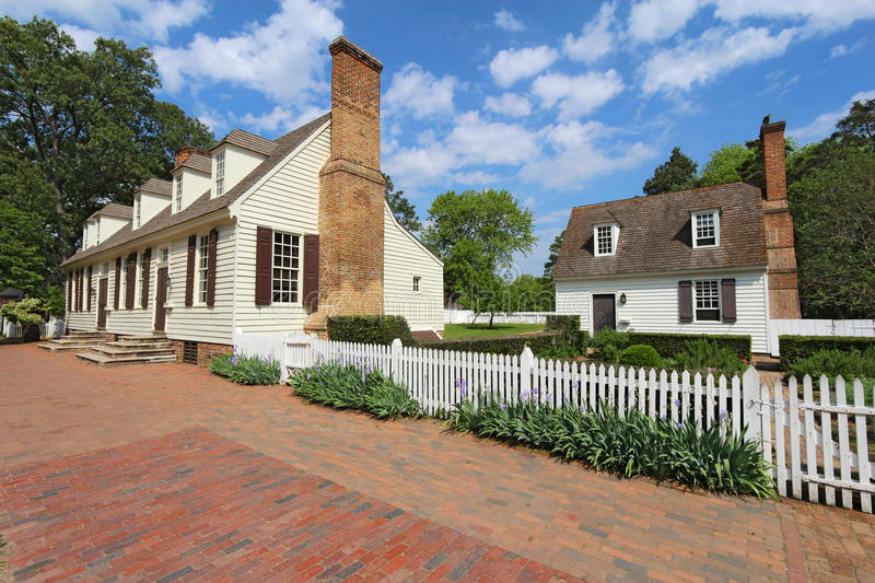 Two buildings on Duke of Gloucester Street in Colonial Williamsburg royalty free stock image
