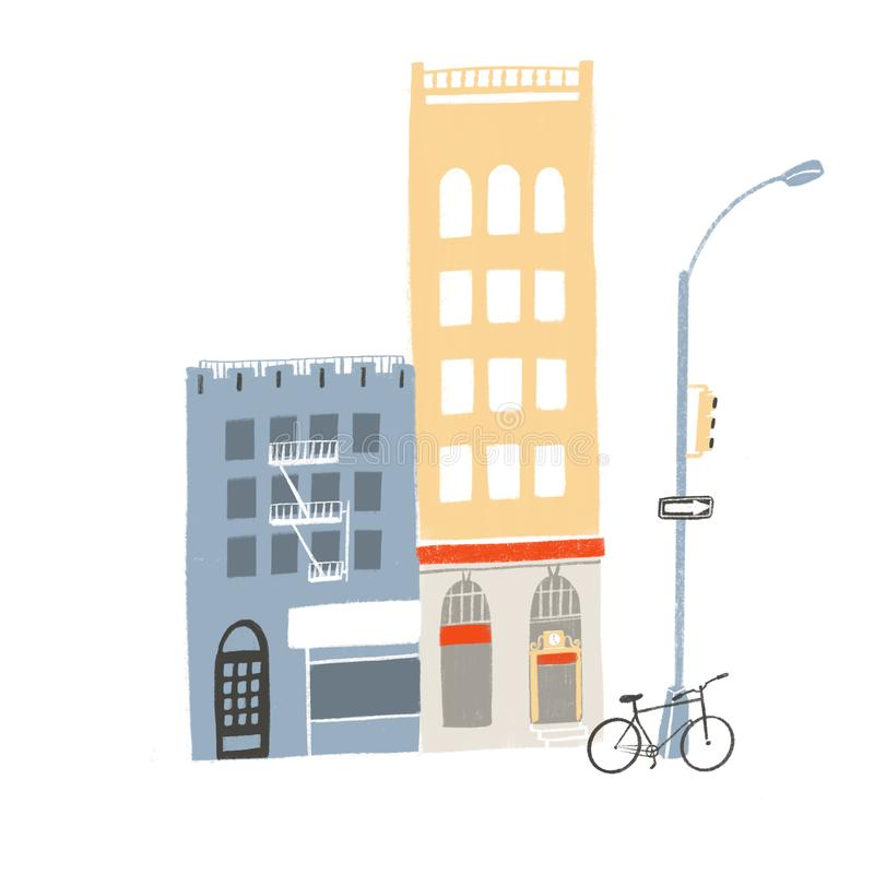 Two buildings, tall and medium. Street scene with store fronts, cafe, bicycle and traffic lights stand illustration. Local neighborhood art stock illustration