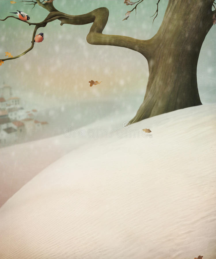 Two bullfinch sitting on a tree.Tree in the snow. royalty free illustration