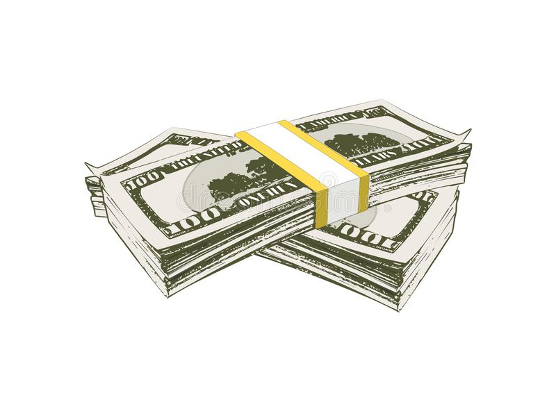 Two bundles of banknotes for a hundred dollars royalty free illustration