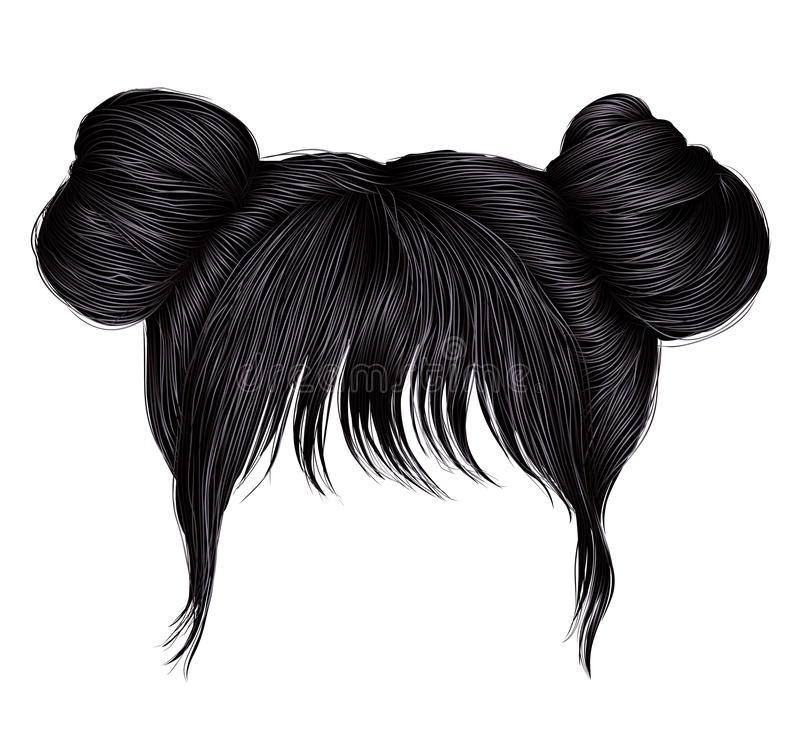 Free Two Buns  Hairs With Fringe Brunette Black  Dark Colors . Colors . Women Fashion Beauty Style .  Stock Photos - 145677943