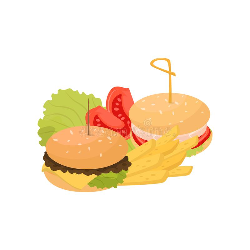 Two burgers, french fries and tomatoes, fast food dish vector Illustration on a white background stock illustration