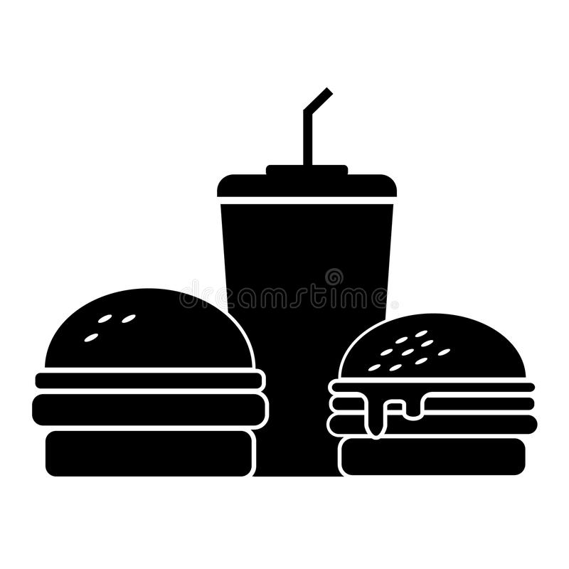 Two burgers with sweet water stock images