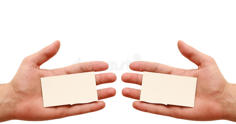 Two Business Cards In Hands Royalty Free Stock Image