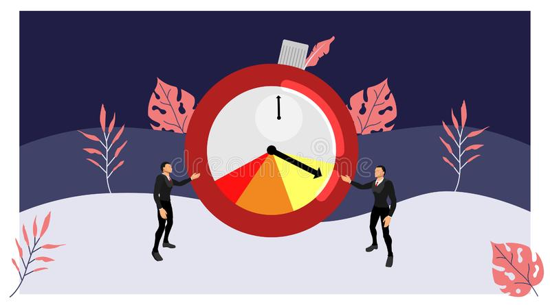 The two business characters are currently showing the timer display symbol of the work time limit. vector deadline theme with. Summer style. eps10 vector stock illustration