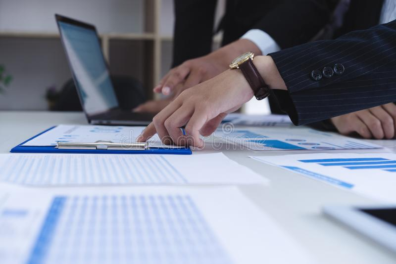Two business discussing corporate financial report,board of directors planning project.Business Analysis and Strategy concept royalty free stock photos