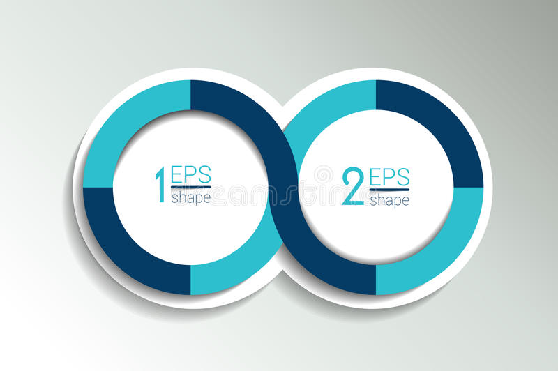 Two business elements banner, template. 2 steps design, chart, infographic, step by step number option, layout. 3D cyrcle style royalty free illustration