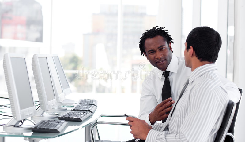 Download Two business interacting stock image. Image of work, white - 9344377