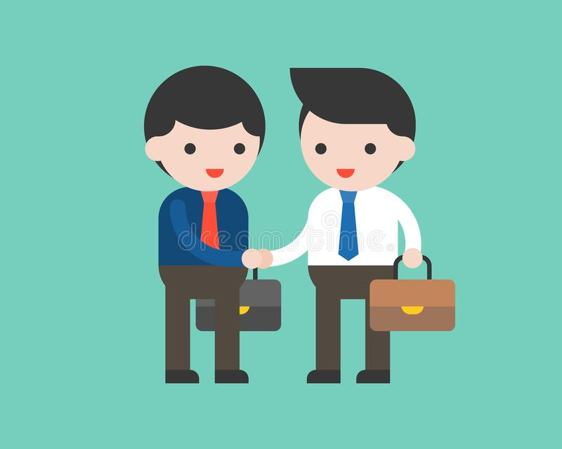 Two business man shake hand, flat design business meeting concept royalty free illustration