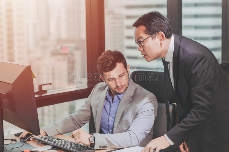 Two business man talking with partner royalty free stock photos