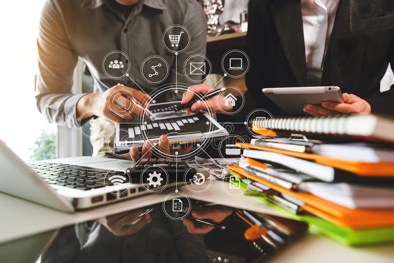 Two business meeting professional investor  working together stock photo