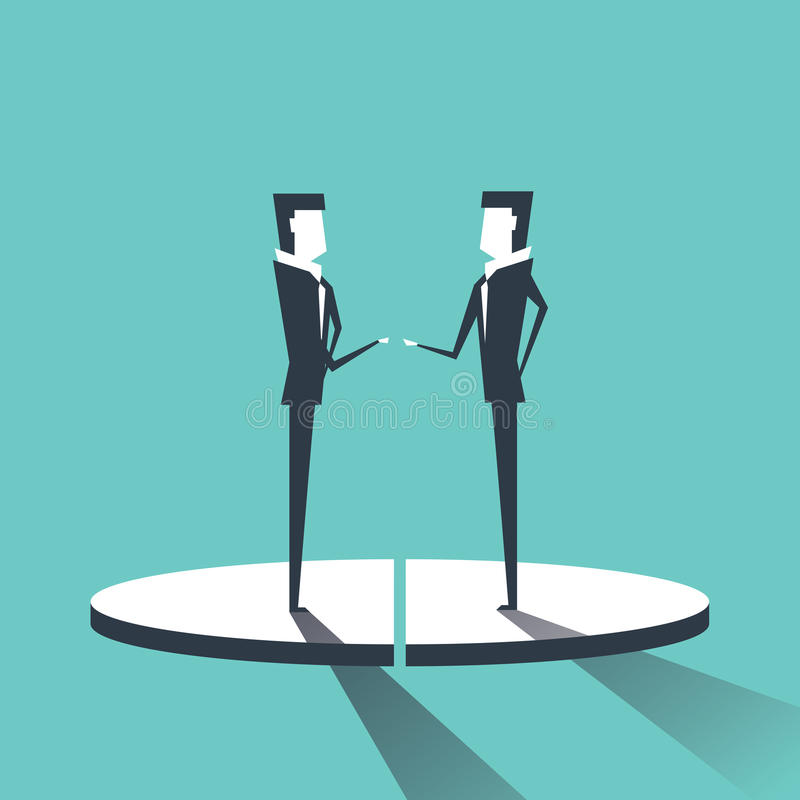 Two Business Men On Pie Diagram Getting Equal Shares, Businessmen Competition Success Concept stock illustration