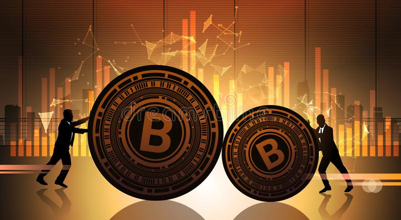 Two Business Men Push Bitcoin Over Statistic Data Charts Crypto Currency Concept Digital Web Money. Vector Illustration royalty free illustration