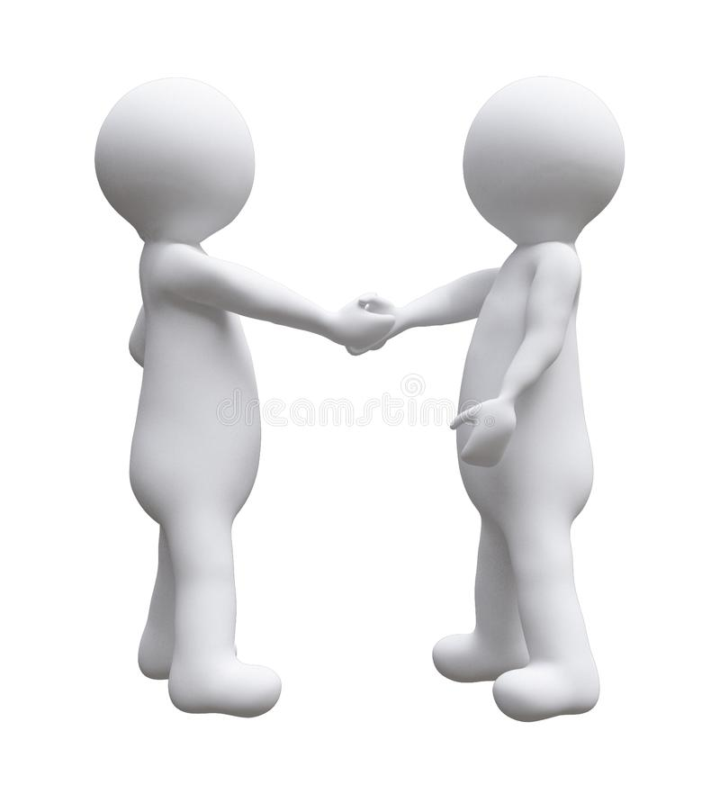 Two business men shaking hands illustration d small people isolated white background. stock illustration
