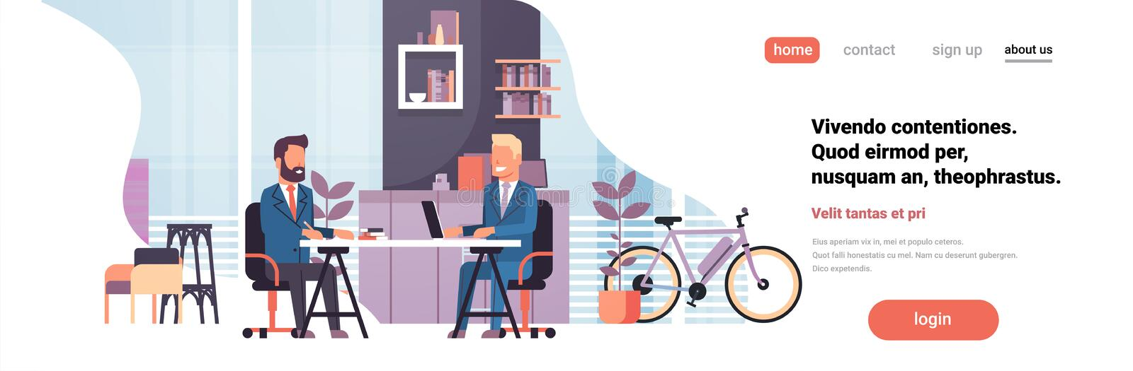 Two business men sitting office desk modern coworking space working together interior background male cartoon character stock illustration