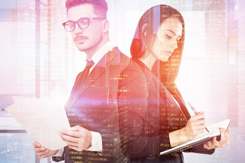 Two business partners in night city royalty free stock photos