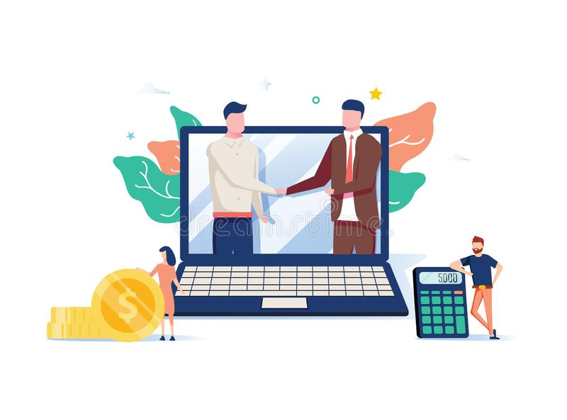 Two business partners shaking hands in big laptop. Online business, Partnership and agreement, with small employ around. Cooperation and deal completed, remote stock illustration