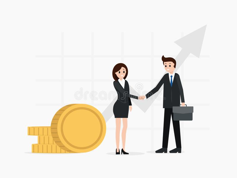 Two business partners shaking hands. Finance growing chart, money coins, profit. Two business partners reached agreement shaking hands. Successful deal royalty free illustration