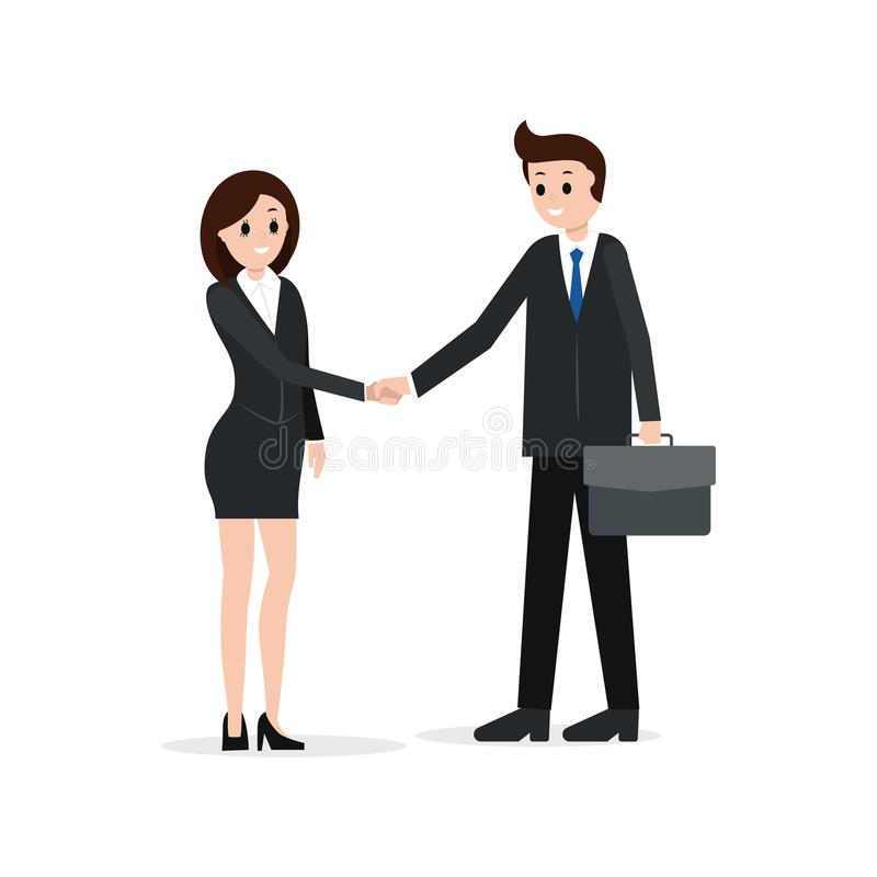 Two business partners shaking hands, vector illustration. Partnership, hiring or agreement concept vector illustration