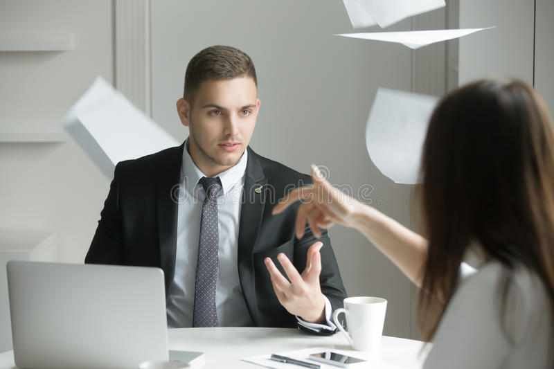 Two business people at a heated discussion stock photo
