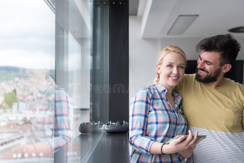 Business People Working With Tablet in startup office stock image
